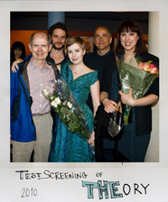 Cast and crew at the test screening of The Theory. Alexandra Marrache, Producer; Eva-Marie Elg, Director; Terry Jermyn, Actor